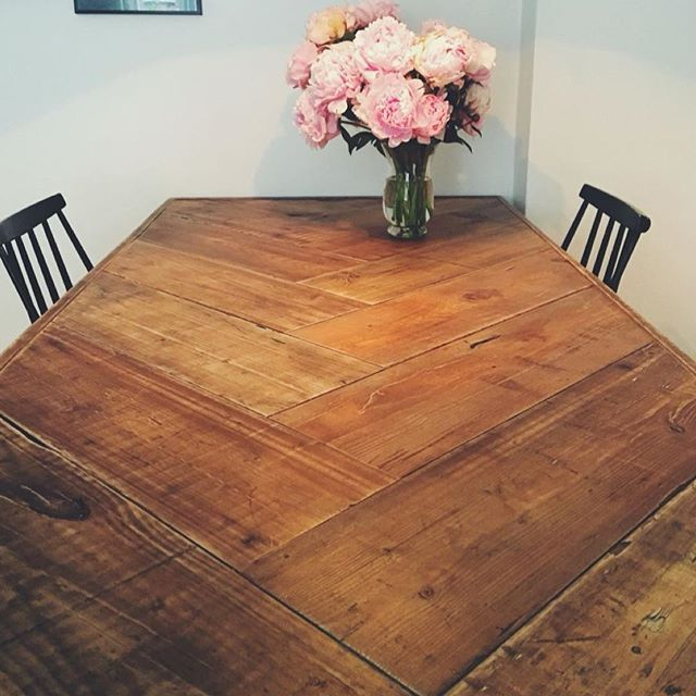 Love This Herringbone Style Chunky Recycled Wood Table Pic Source