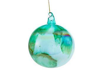 """Set of 3 - 4"""" Aqua Glass Marble Ornaments; $35.00"""