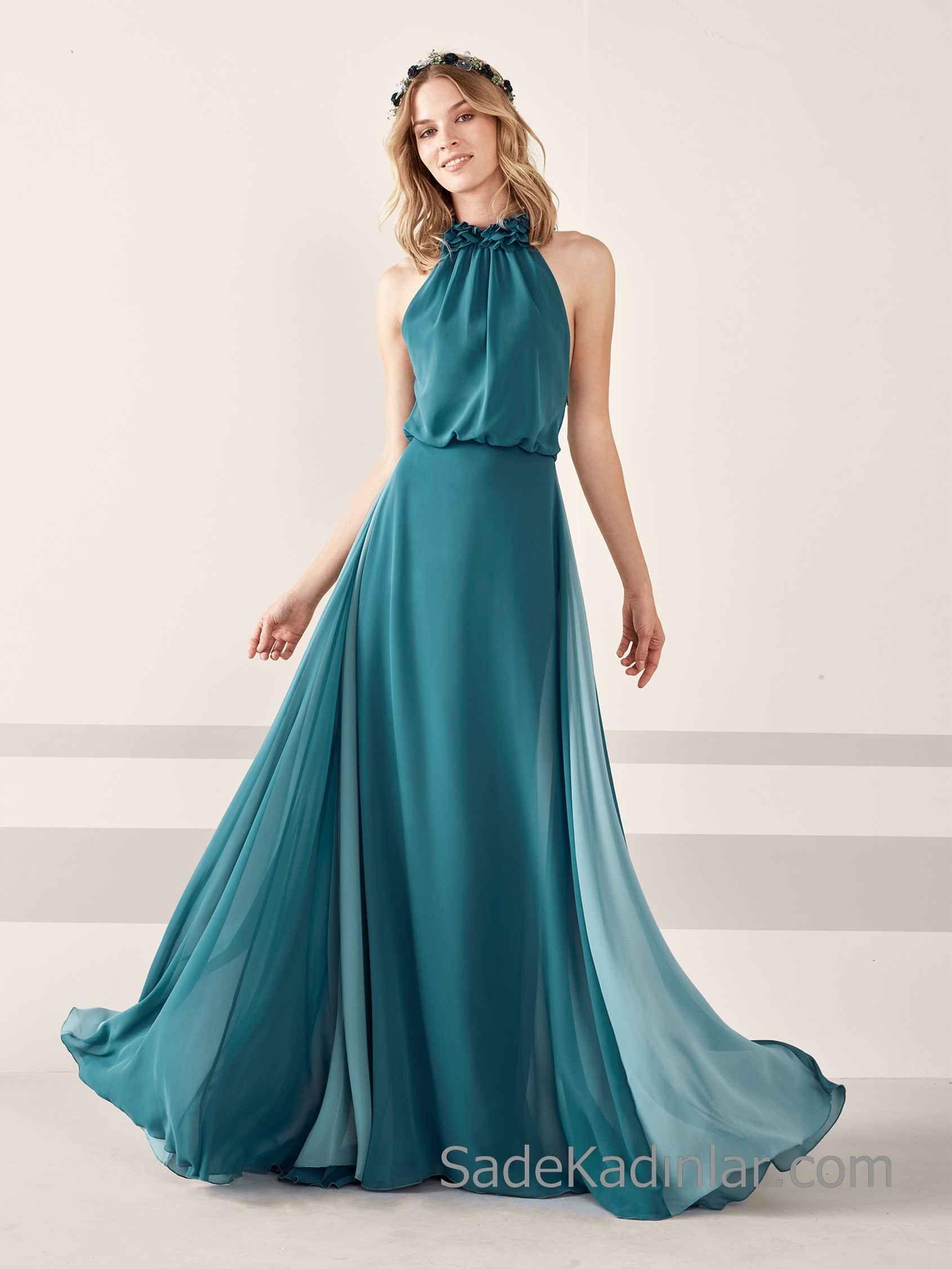 Pronovias 2020 Abiye Elbise Modelleri Yesil Uzun Sifon Halter Yaka Klos Etekli Aksamustu Giysileri The Dress Elbise Modelleri
