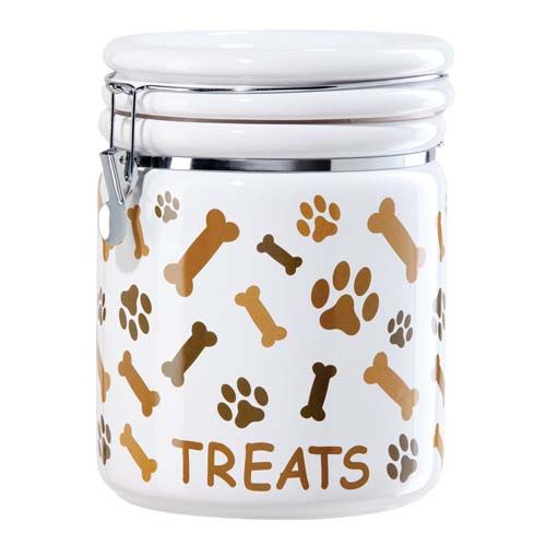 Paw Prints Pet Treat Container With Bone Design Get Organized