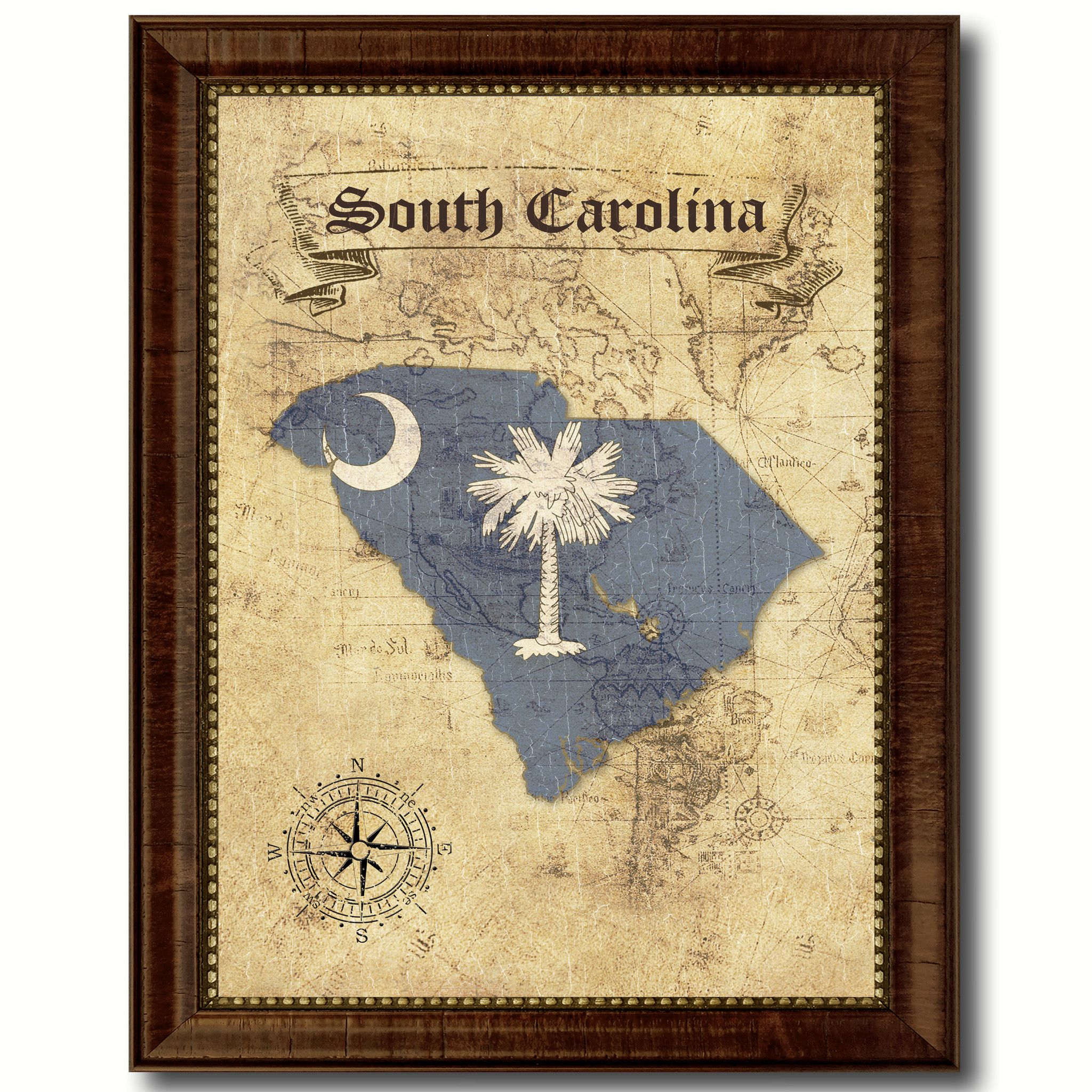 South Carolina State Vintage Map Home Decor Wall Art Office ...