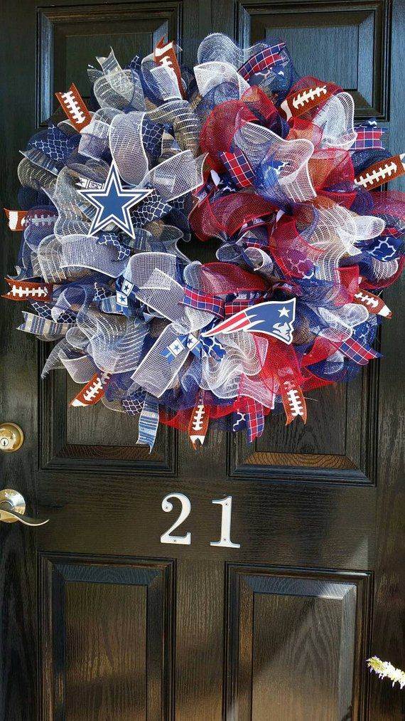 House Divided House United Burlap Wreath Mesh Ribbon Two Teams