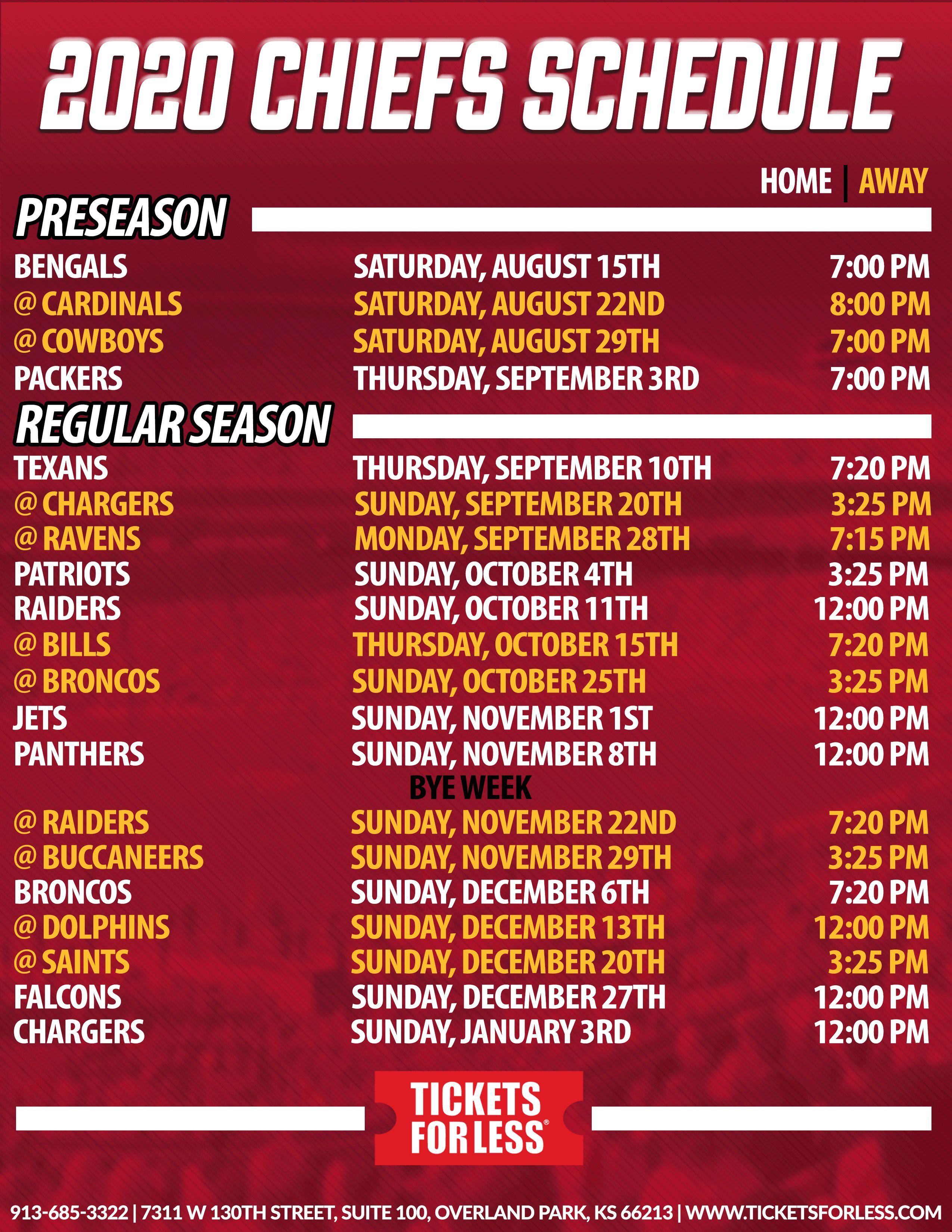 Chiefs Printable Schedule Kansas City Chiefs Schedule With Regard To Printable Nfl Schedule Di 2020