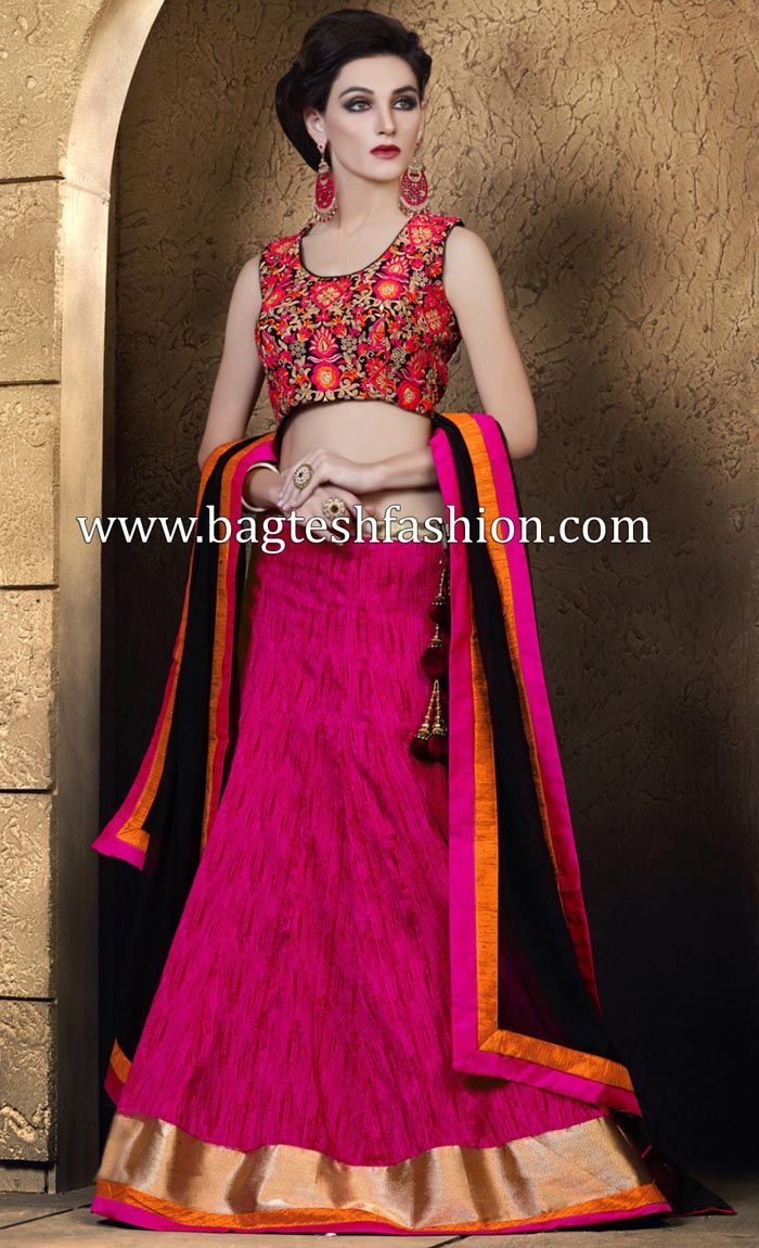 Hot Pink Khadi Jacquard Lehenga Choli http://www.bagteshfashion.com/women/lehenga-choli/bollywood-lehenga-choli