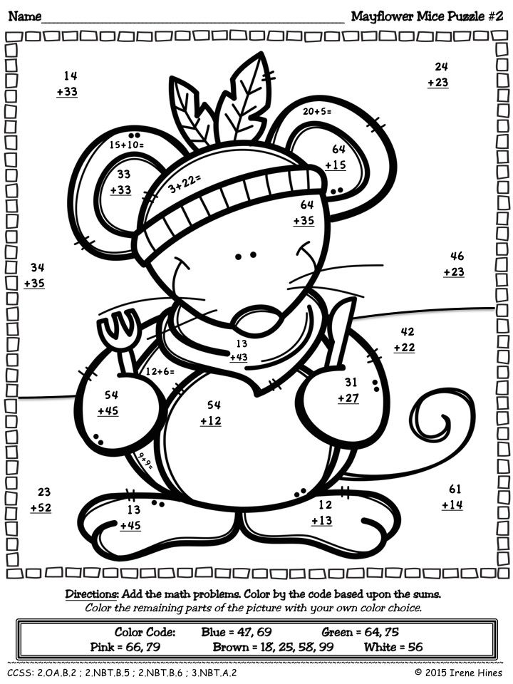 Thanksgiving Math Activities Mayflower Mice Color By