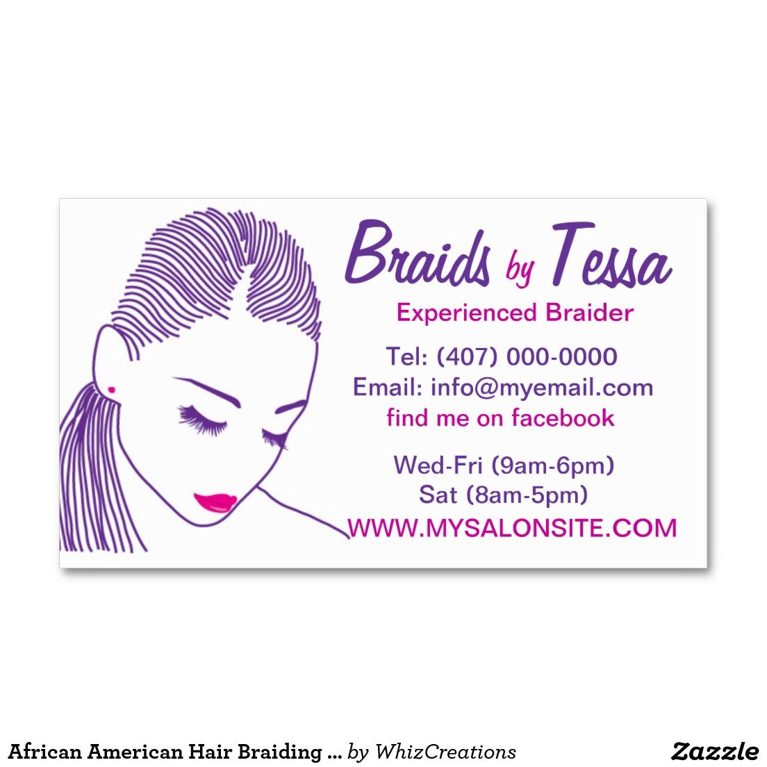 African american hair braiding salon business card for Braiding business cards
