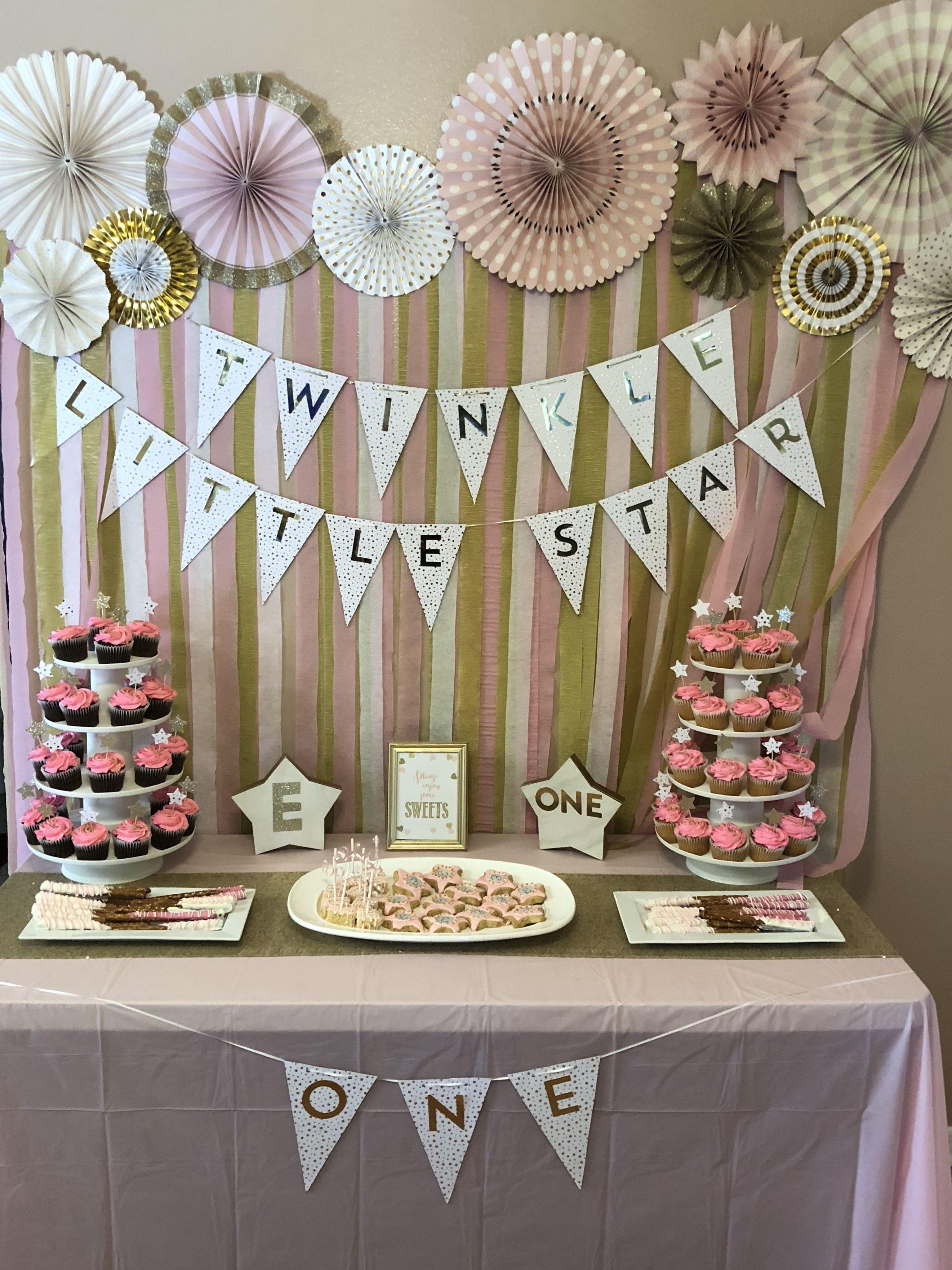 Twinkle Twinkle Little Star Birthday Dessert Table Pinkandgold