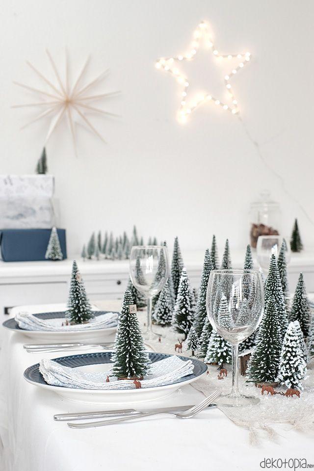 DIYnachten: Winterwald Tischdeko mit NOCH kreativ #tischeindecken