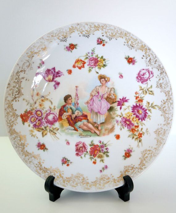 Beautiful Floral Courting Couple Wall Plate Hand By