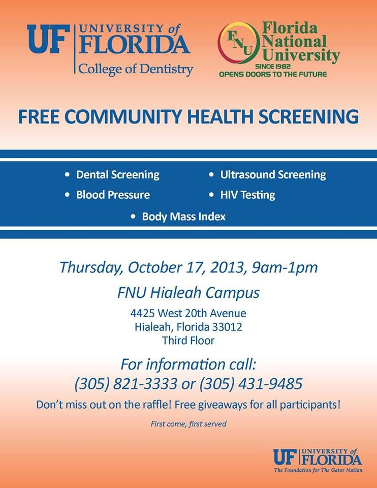 Pin By Florida National University On Free Community Health Screening Health Screening Health Dentistry