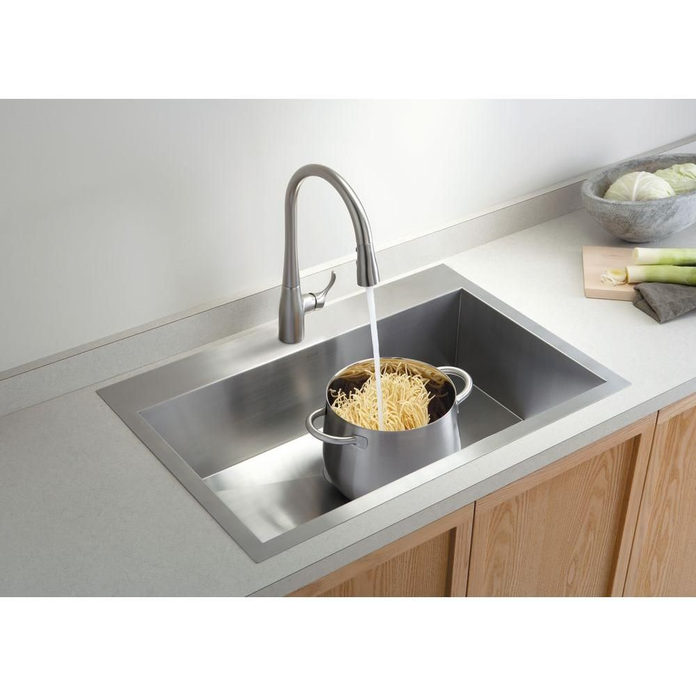 Kohler Vault Dual Mount Stainless Steel 33 In 1 Hole Single Bowl Kitchen Sink With Basin Rack K 3821 1 Na Single Sink Kitchen Drop In Kitchen Sink Single Bowl Kitchen Sink