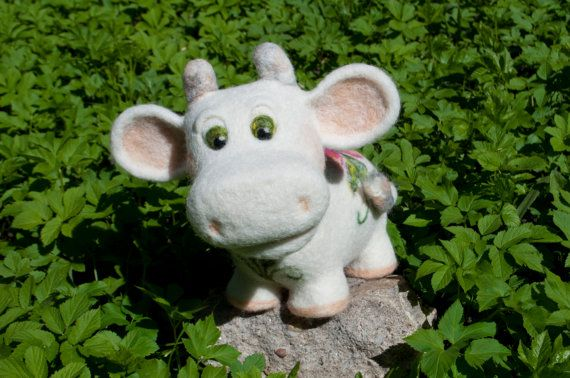 Needle felted cow flower cow white by HelenDream on Etsy