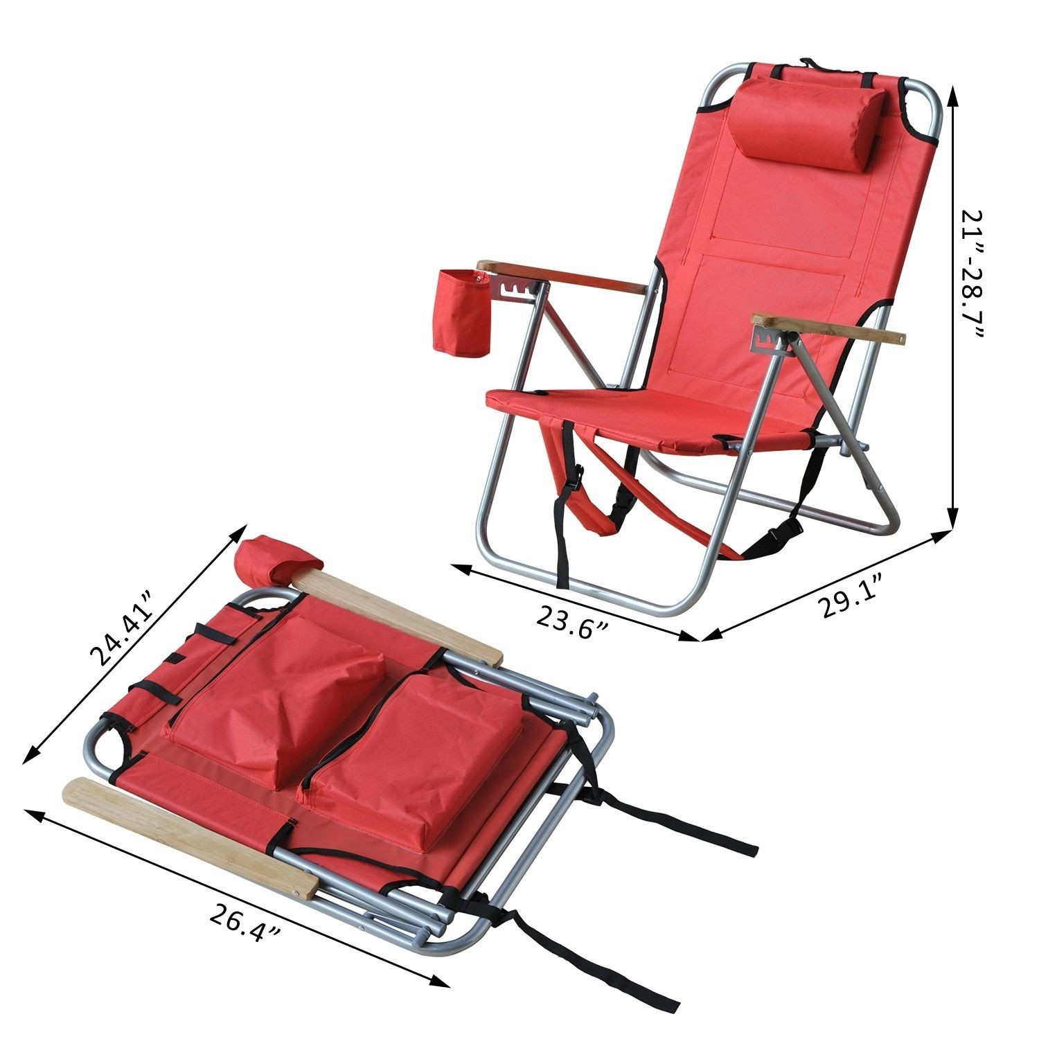 Outsunny Adjustable Backpack Beach Camp Chair w Drink Holder