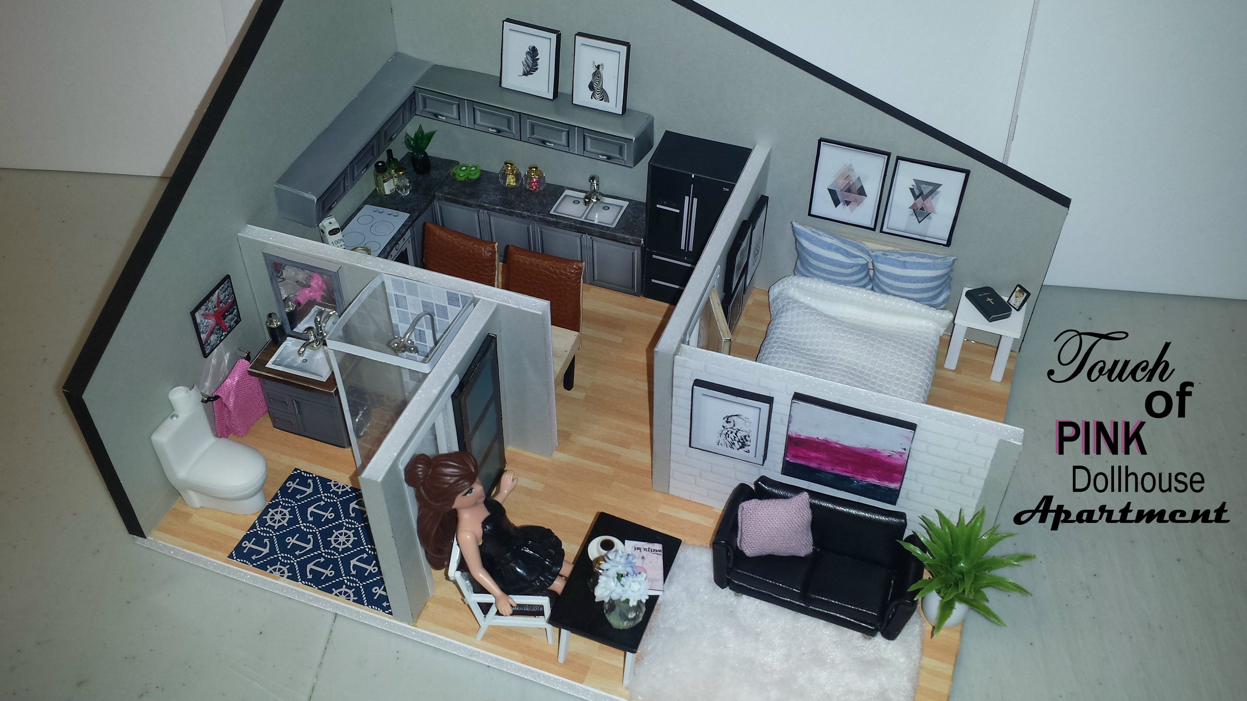 Diy miniature touch of pink dollhouse apartment