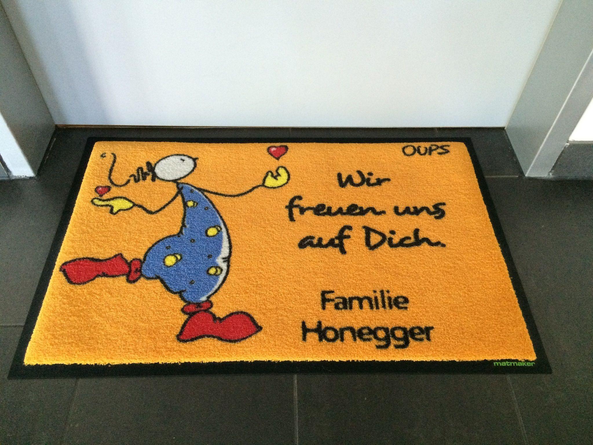 Oups-Fußmatte: Wir freuen uns auf Dich.