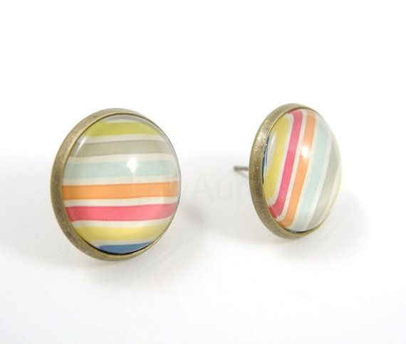 bronze & pastel lines stud earrings