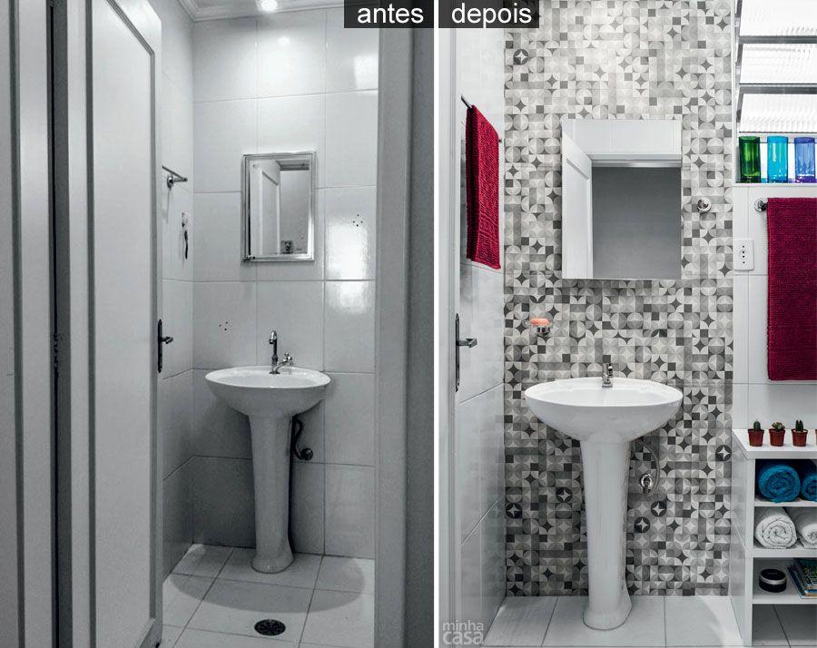 Tecido adesivo geométrico dá vida nova ao banheiro  Tecidos adesivos, Eliana -> Banheiro Pequeno Adesivo