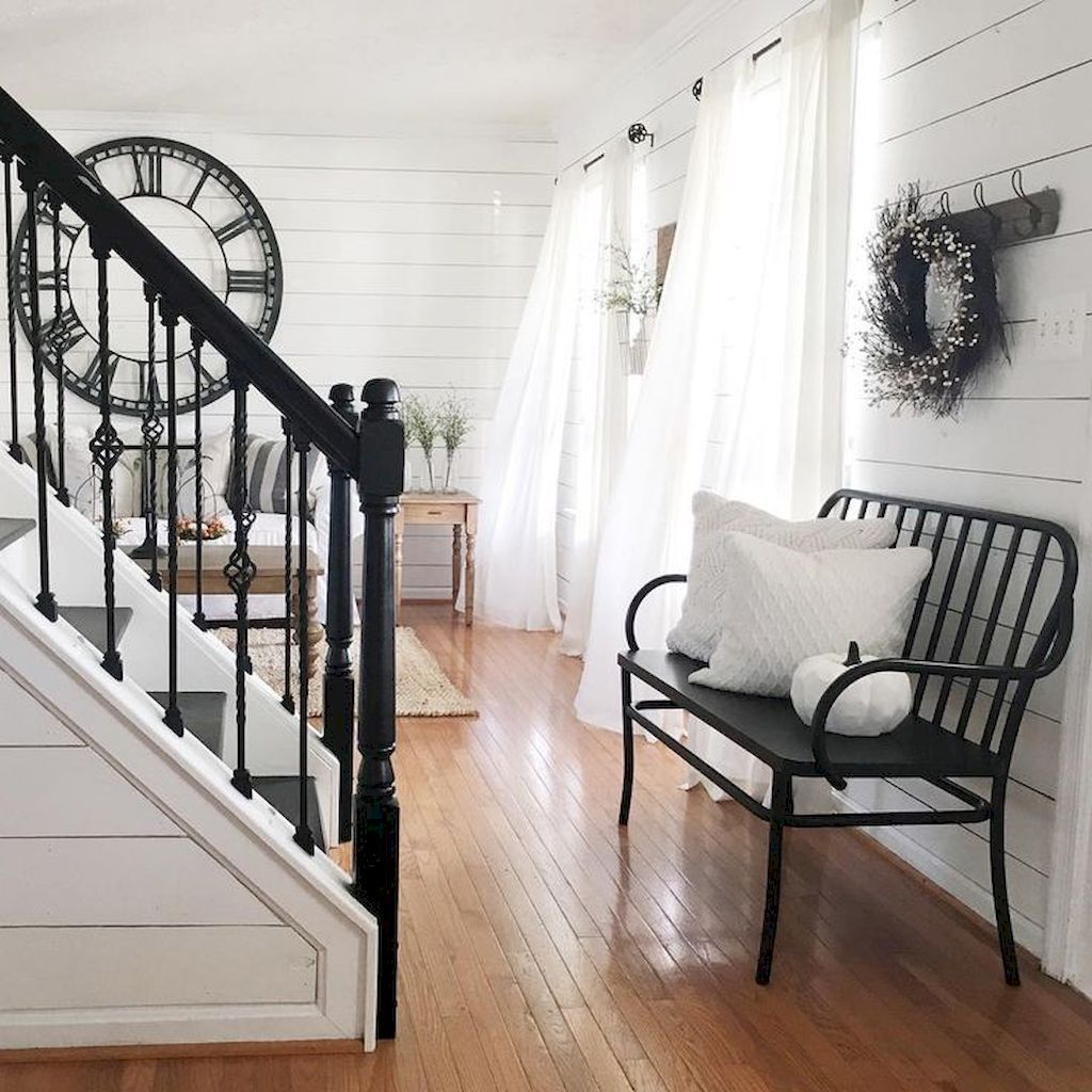 Rustic Entryway Decorating Ideas 42 Staircase Decor Country   Modern Farmhouse Stair Railing   Horizontal Bar   Exterior   Mid Century Modern   Design Small House   Residential