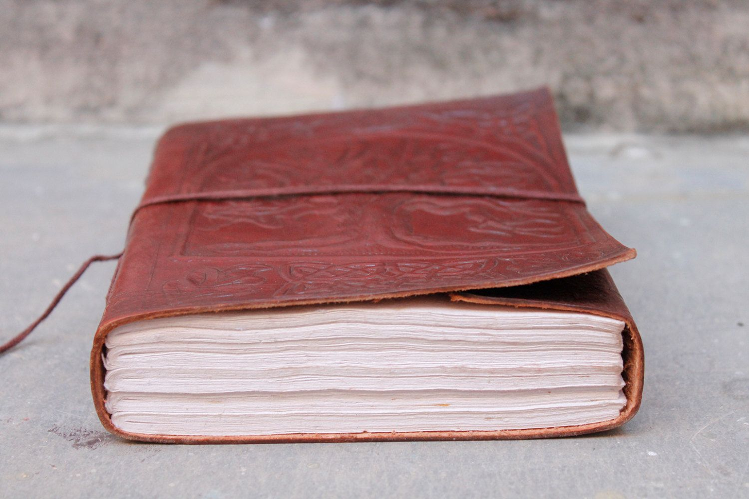 7x5.5 / Handmade Leather Journal / Embossed / by LeatherEuphoria, $29.00
