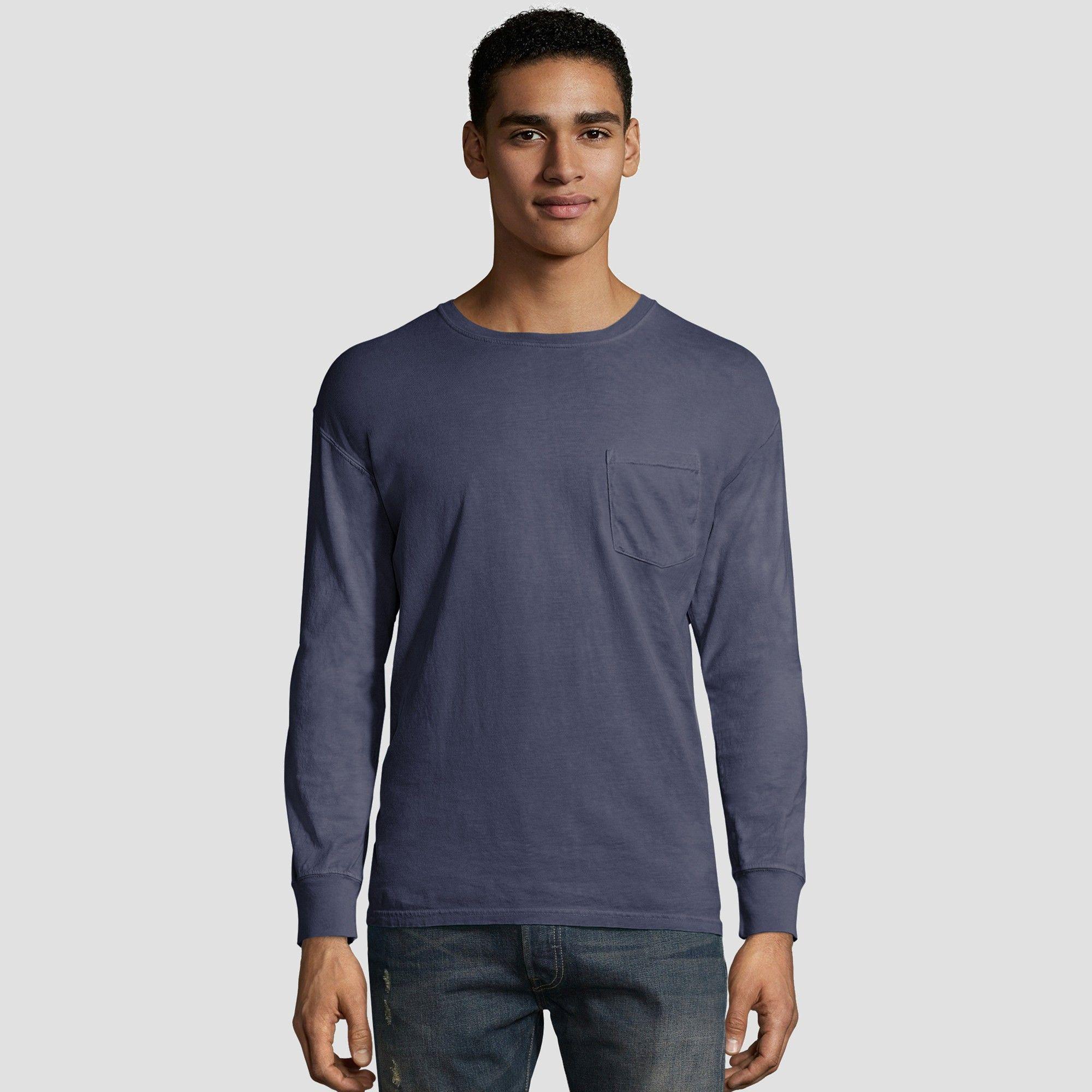 4e37a762f7fc Hanes Men's Long Sleeve 1901 Garment Dyed Pocket T-Shirt - Slate (Grey) 2XL