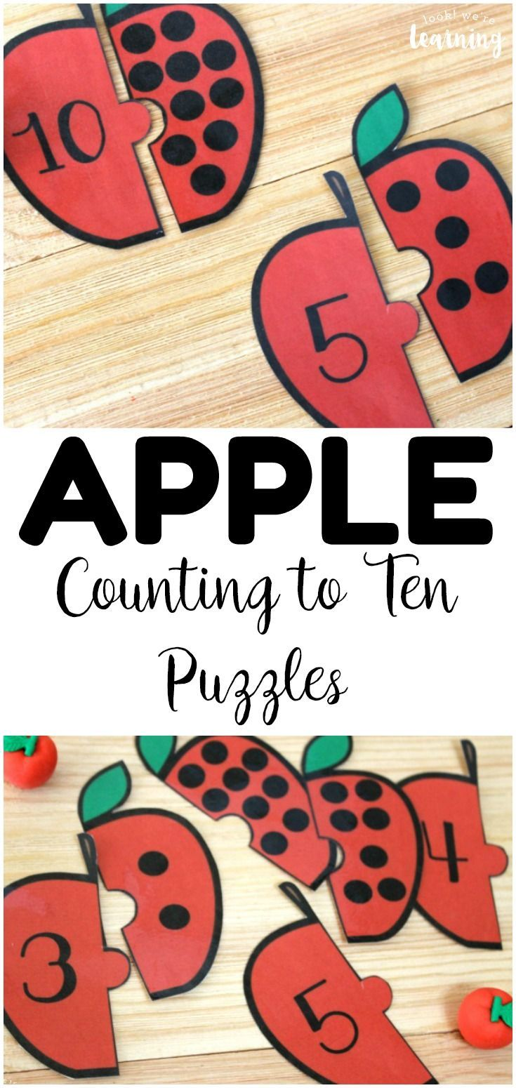 Apple Count! Apple Preschool Counting Puzzles - Look! We're Learning! #math