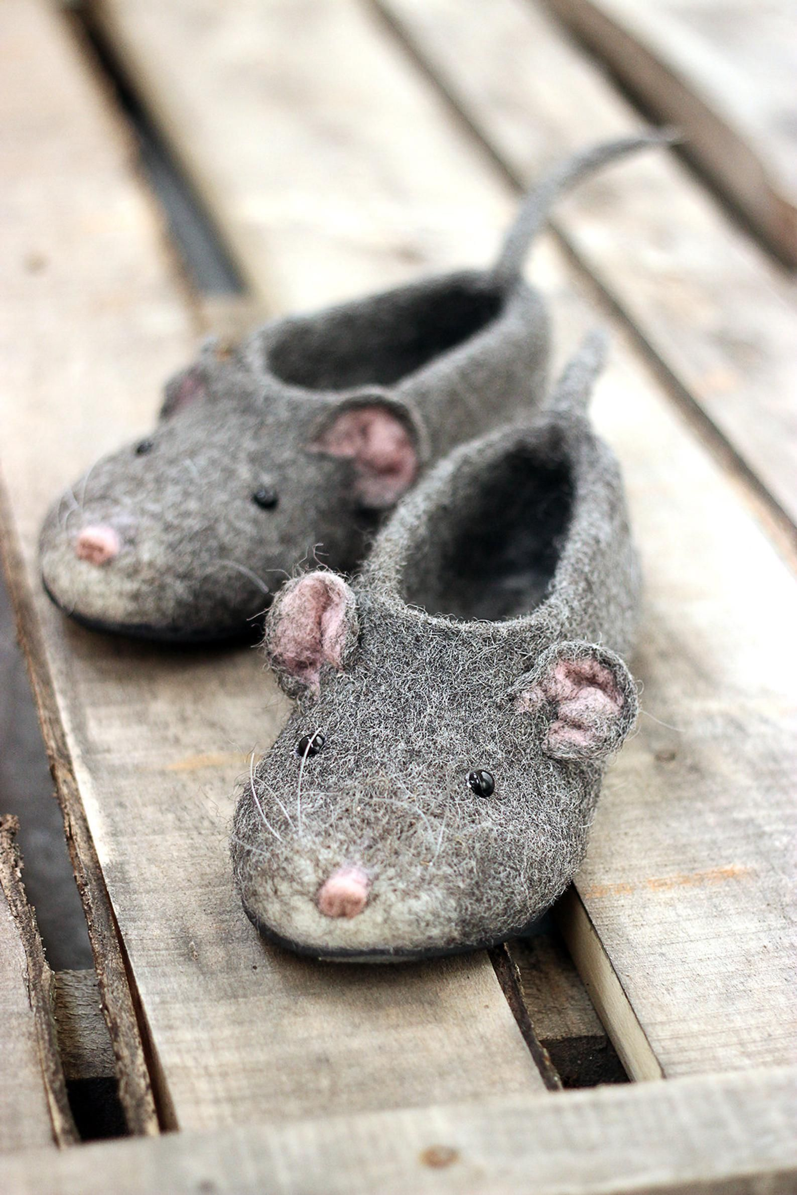 122cc40c62cea Mouse/rat custom slippers, handmade, felted, personalized, natural ...