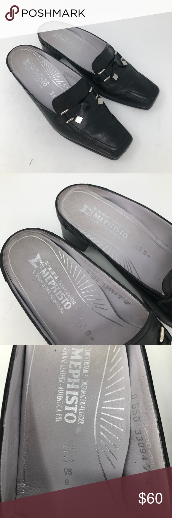 Mephisto Air Relax Black Leather Mules Euro Shoes Mephisto