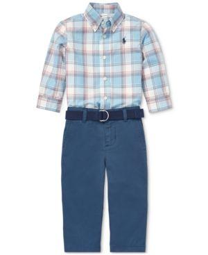efd29fdc Polo Ralph Lauren Baby Boys Plaid Shirt & Chino Pants Set - Cream ...