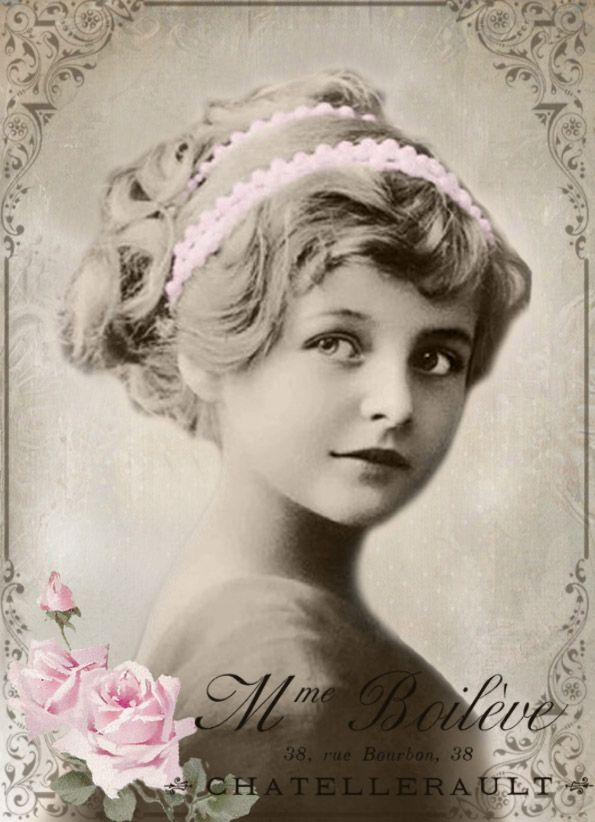 Vintage Girl Digital Collage Free To Use Girl With Pink Scallop Ribbon Onhead In Oval Frame With Pink Rose