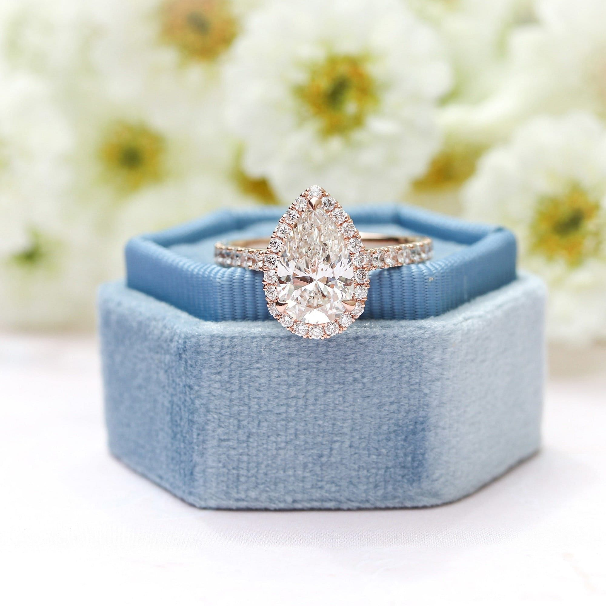 3 Carat Pear Shaped Moissanite Ring/14K Rose Gold Halo Vintage Engagement Ring/Unique Wedding Ring/ Promise Ring