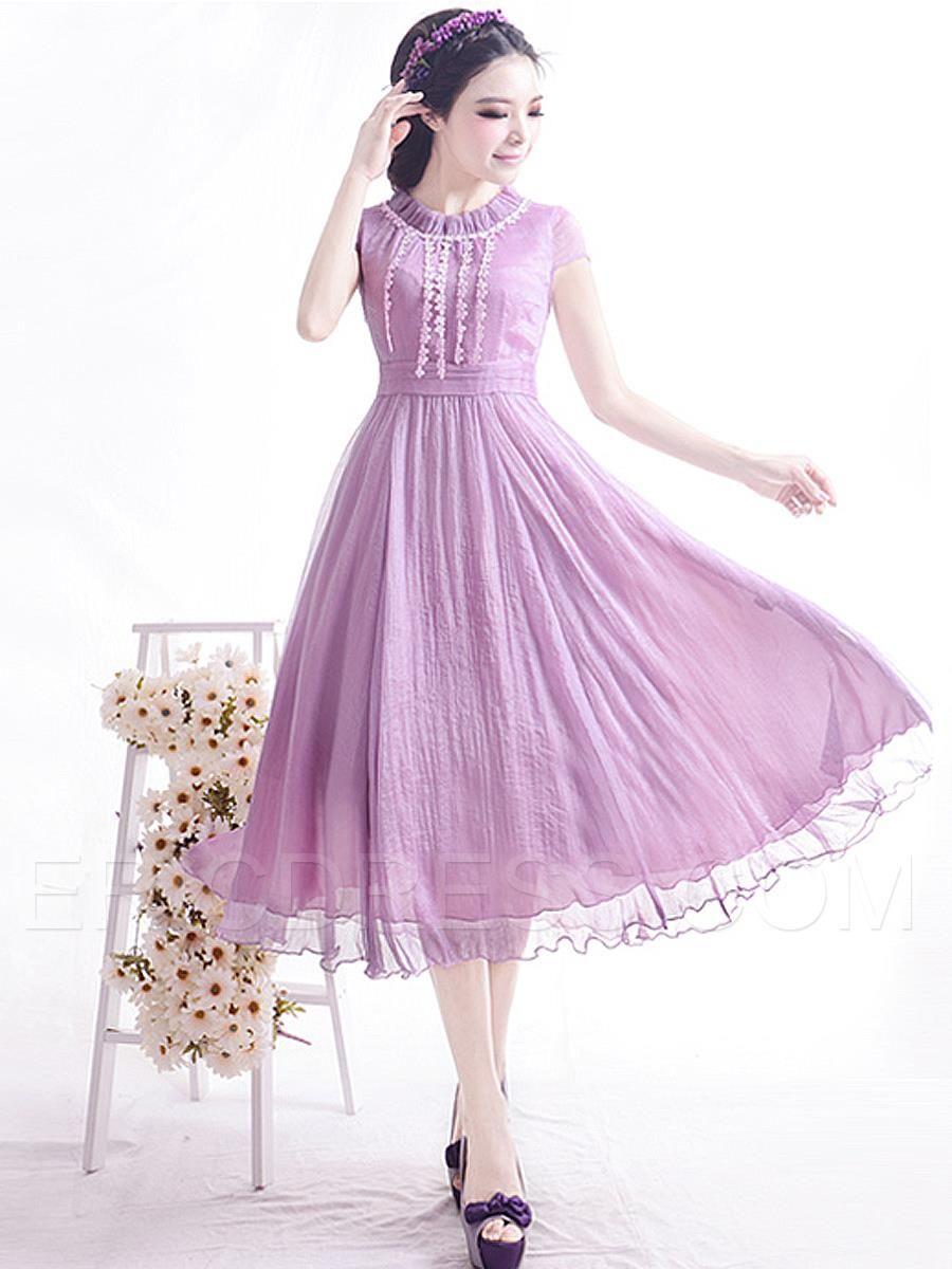 Ericdress Plain Pleated Patchwork Short Sleeve Maxi Dress 2