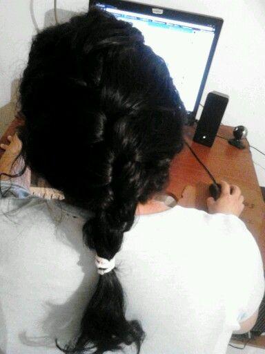 Trenza en el cabello.