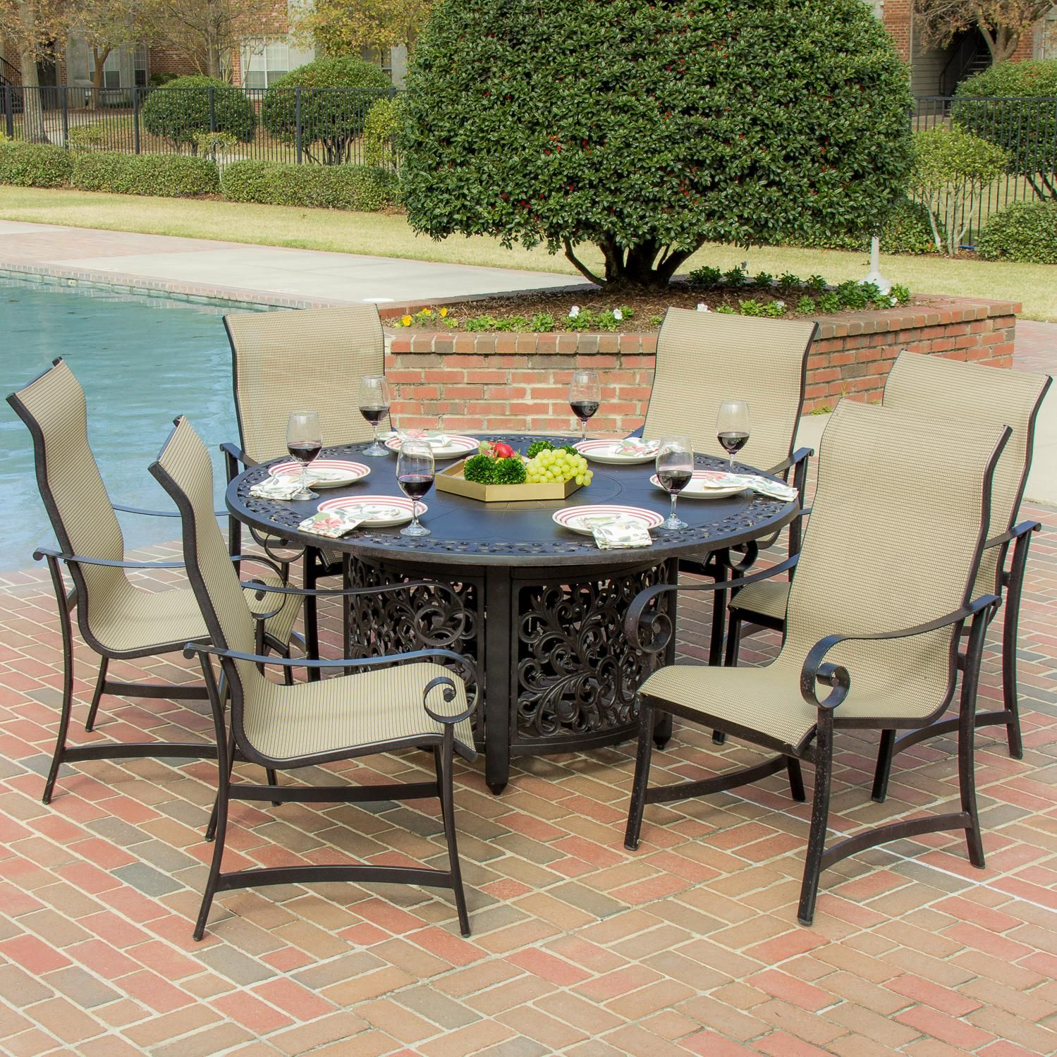 21+ Patio dining set with fire pit table Trend