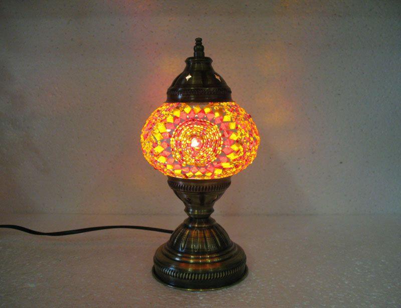 Orange Mosaic Glass Table Lamp Tischlampe Moroccan Lantern Lampe Mosaique M  11 #Handmade #Moroccan