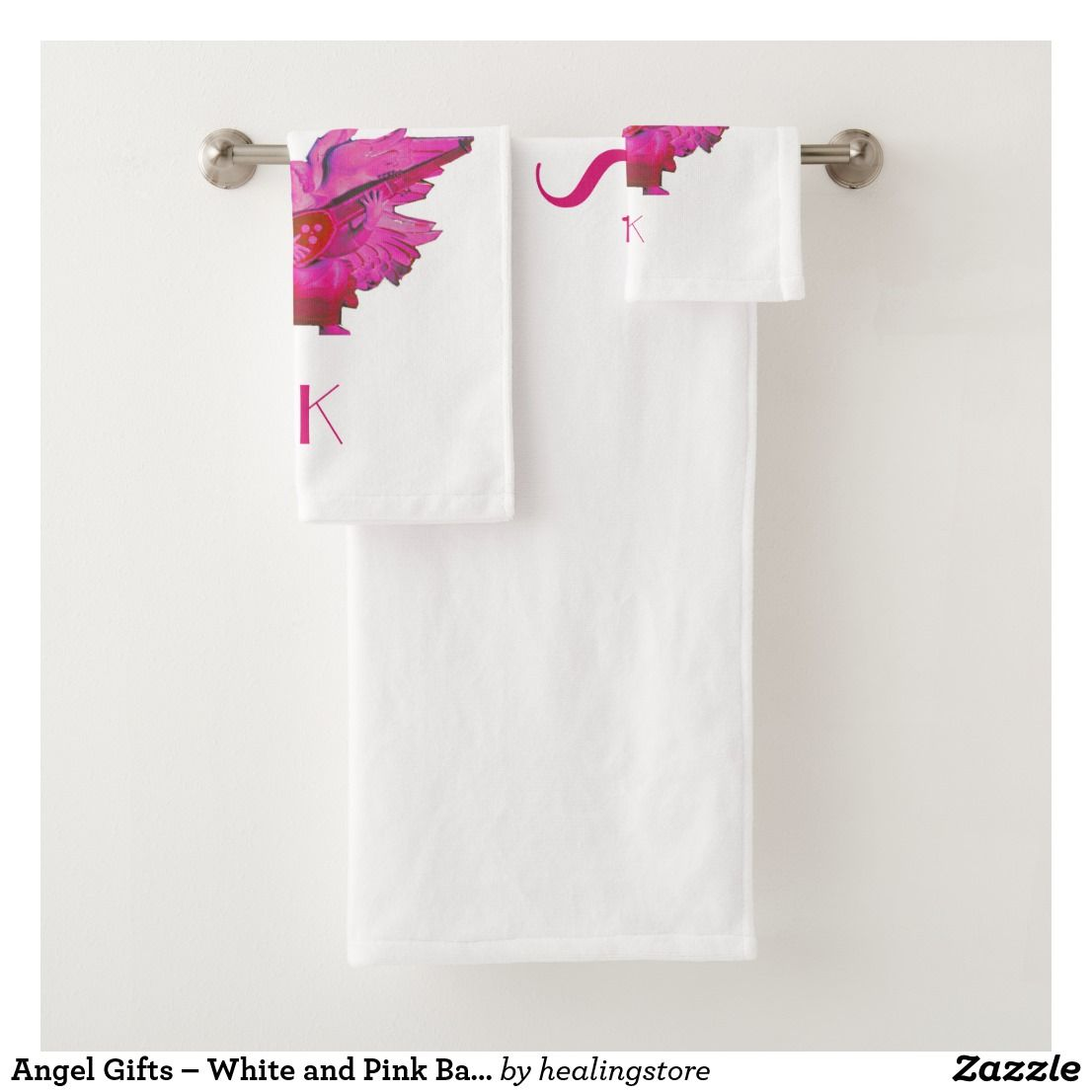 Angel Gifts - White and Pink Bath Towels Set | Pink bath ...