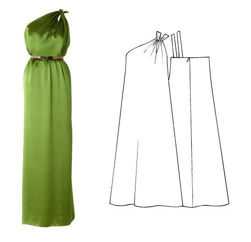Molde Manequim - Vestido longo de festa com decote um ombro só - Tam.42