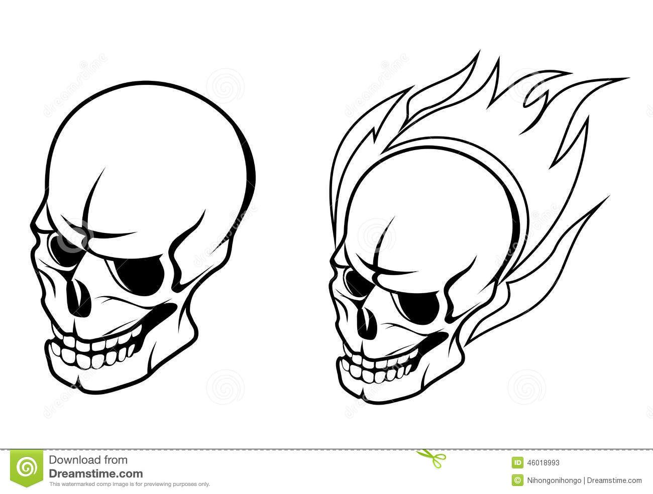 Black Outline Skull In Fire And Flame Tattoo Stencil
