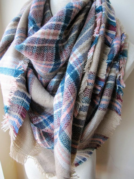 be993a6620343 Tartan scarf, plaid blanket shawl scarf,blanket scarf trend, blue white gray  beige pink plaid scarf