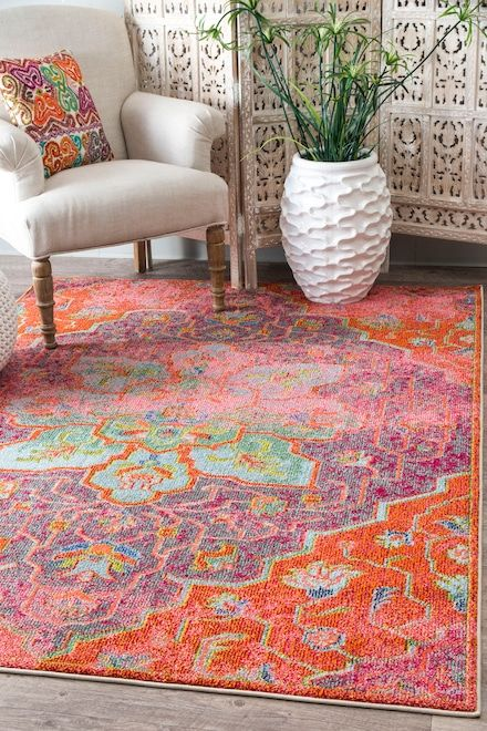 Rugs USA Orange Chroma Tinted Floral Medallion Rug | Rug Makeover ...
