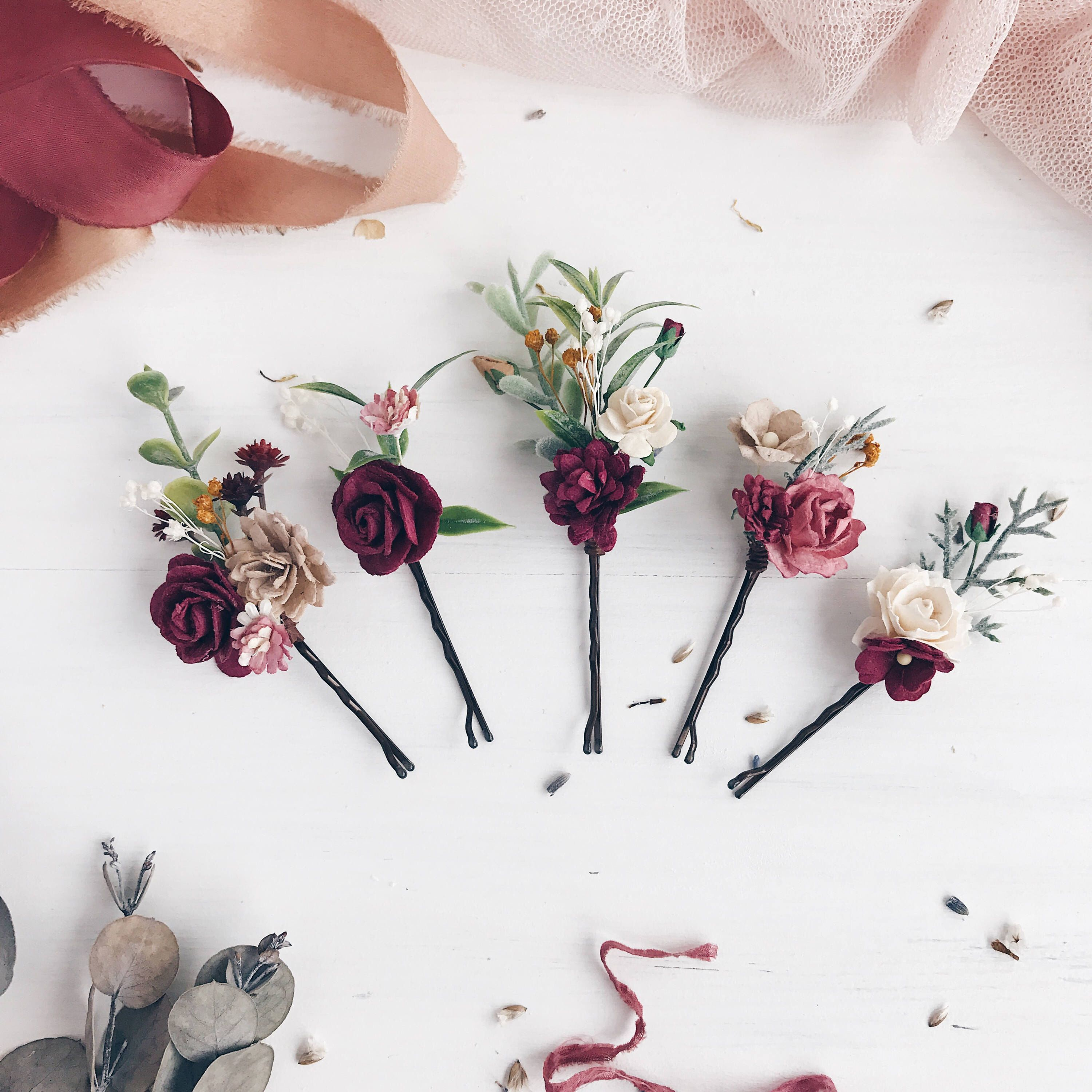 Coiffure Mariage Cheveux Rouge Burgundy Flower Bobby Pins Deep Red Flower Bobby Pins