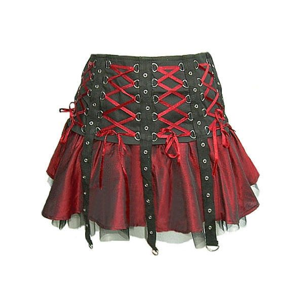 d623e82cdd1f Red Black Gothic Punk Mini Corset Skirt ❤ liked on Polyvore featuring skirts,  mini skirts, red mini skirt, punk rock skirts, goth mini skirt, gothic  lolita ...