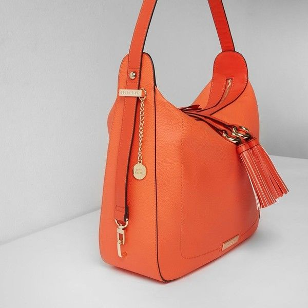 River Island Bright Orange Tassel Tab Slouch Bag 68 Liked On Polyvore Featuring Bags Handbags Shoulder Purses Women