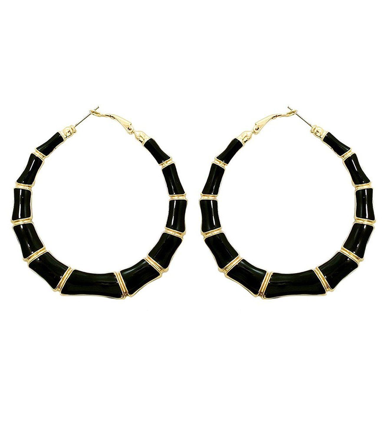 bd8ce10f724ac Belle Pink Women's Gold and Black Tone Bamboo Hoop Earrings, 2.5 ...