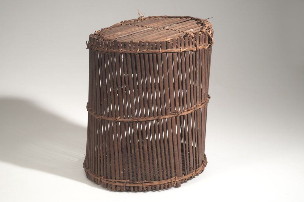 BASKET AFRICAN ETHNOGRAPHIC COLLECTION Catalog No: 90.2/ 2265 Field No: 510 Culture: YAKA (BAYAKA) Country: CONGO (BELGIAN CONGO) Material: WOOD, PLANT FIBER, CORD Dimensions: L:30 W:28 H:34 [in CM] Acquisition Year: 1957 [GIFT] Donor: PUTNAM FAMILY Keywords: BASKET