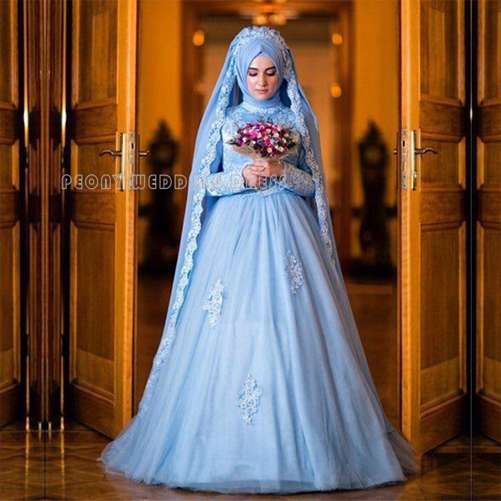 Luxury Blue Muslim Wedding Dress Long Sleeve Beaded Lace Tulle Hijab ...