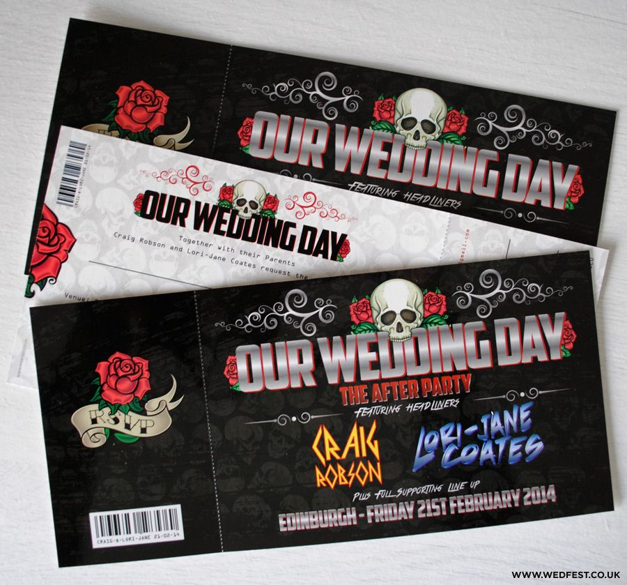 Skulls And Roses Rock N Roll Wedding Invites Wed Fest