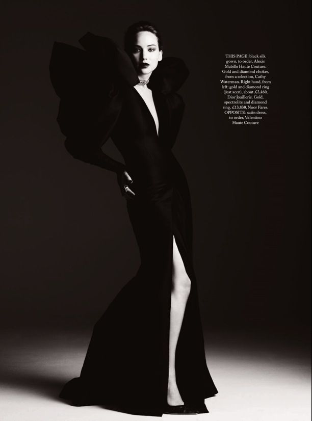 JENNIFER LAWRENCE HARPERS BAZAAR UK Photographer Ben Hassett EDITORIAL COUTURE EDITORIAL VAMPY DARK ALEXIS MABILLE HAUTE BLACK OVERSIZED SHO...