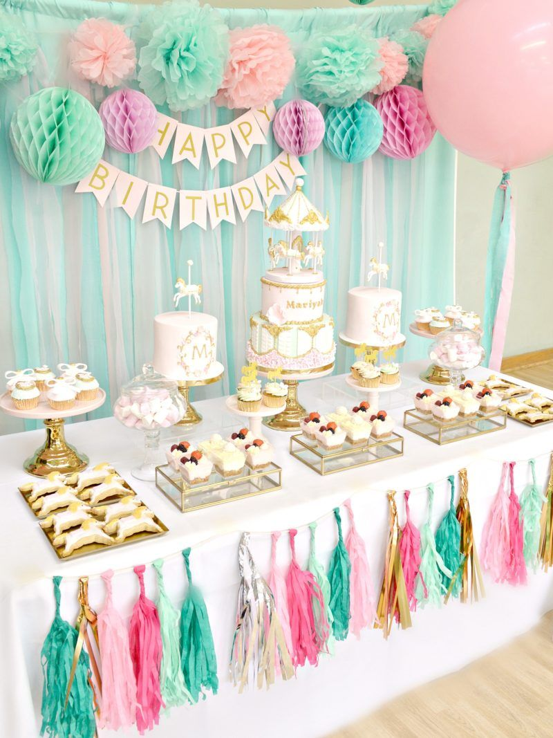 Pink, Mint and Gold Carousel Cake Dessert Table Birthday Party ...