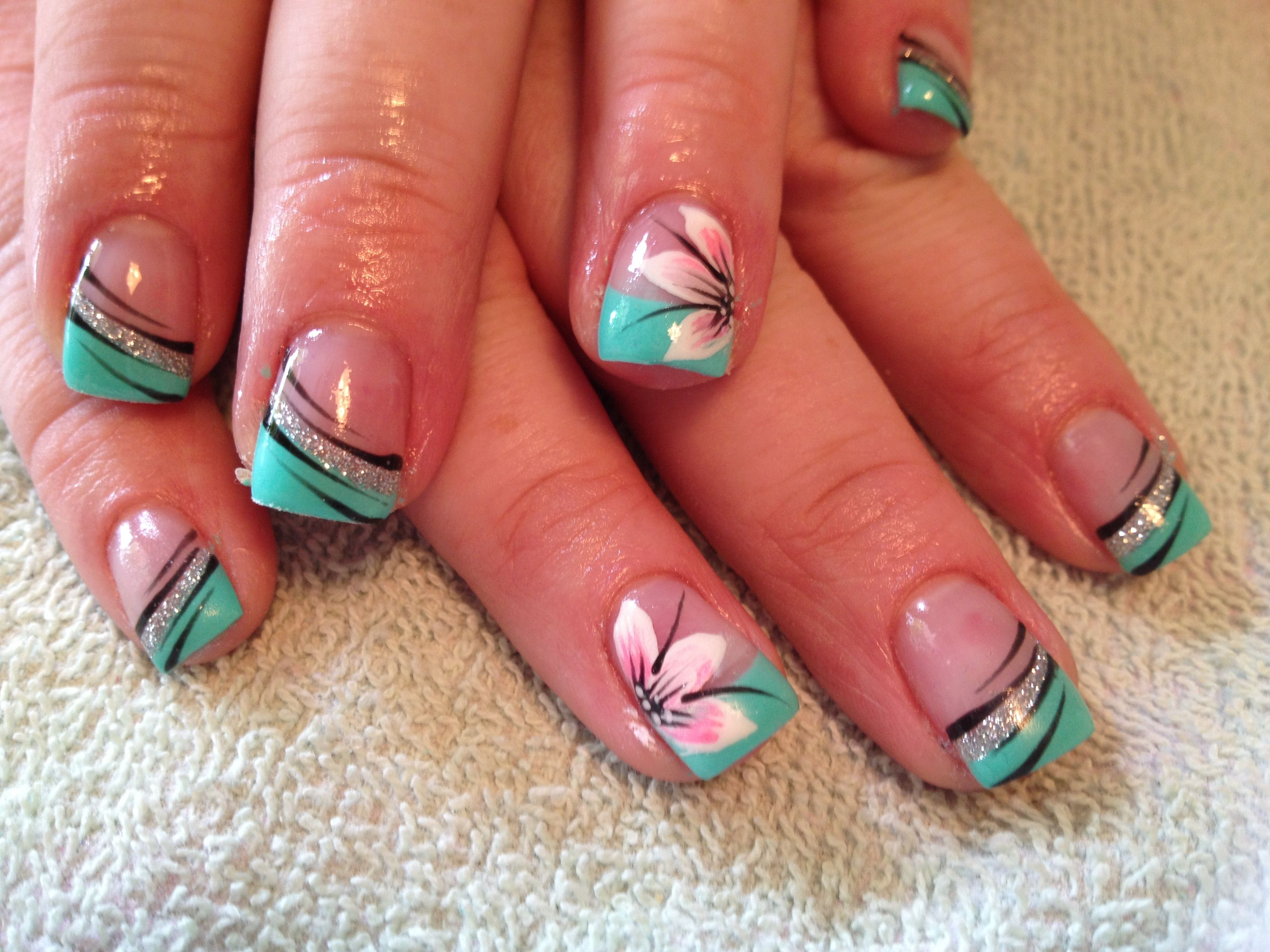 Turquoise nails with flowers | Nails | Pinterest | Turquoise ...