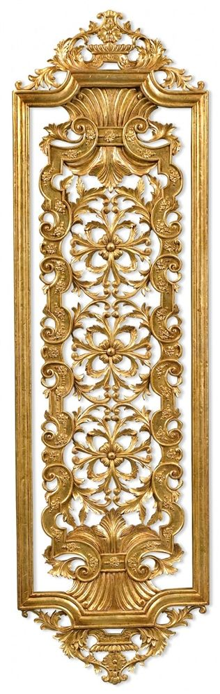 Hand carved pair of solid wood and gilded wall panel. Antique repro ...